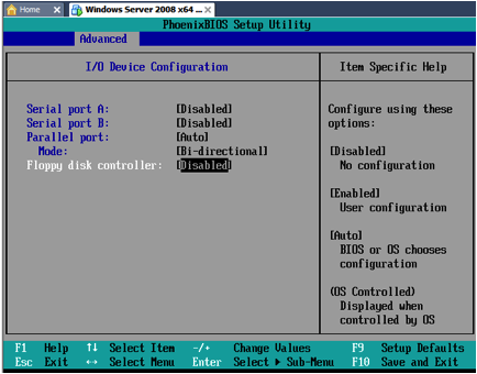 VMWare VM Bios Floppy disk controller Disabled.png