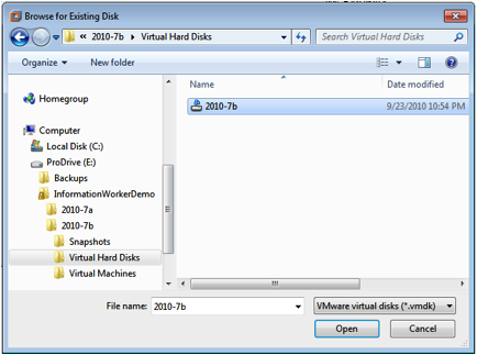 VMWare new VM Browse Existing Disk Wizard.png